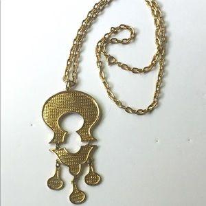 Gold Modernist Vintage Pendant Necklace